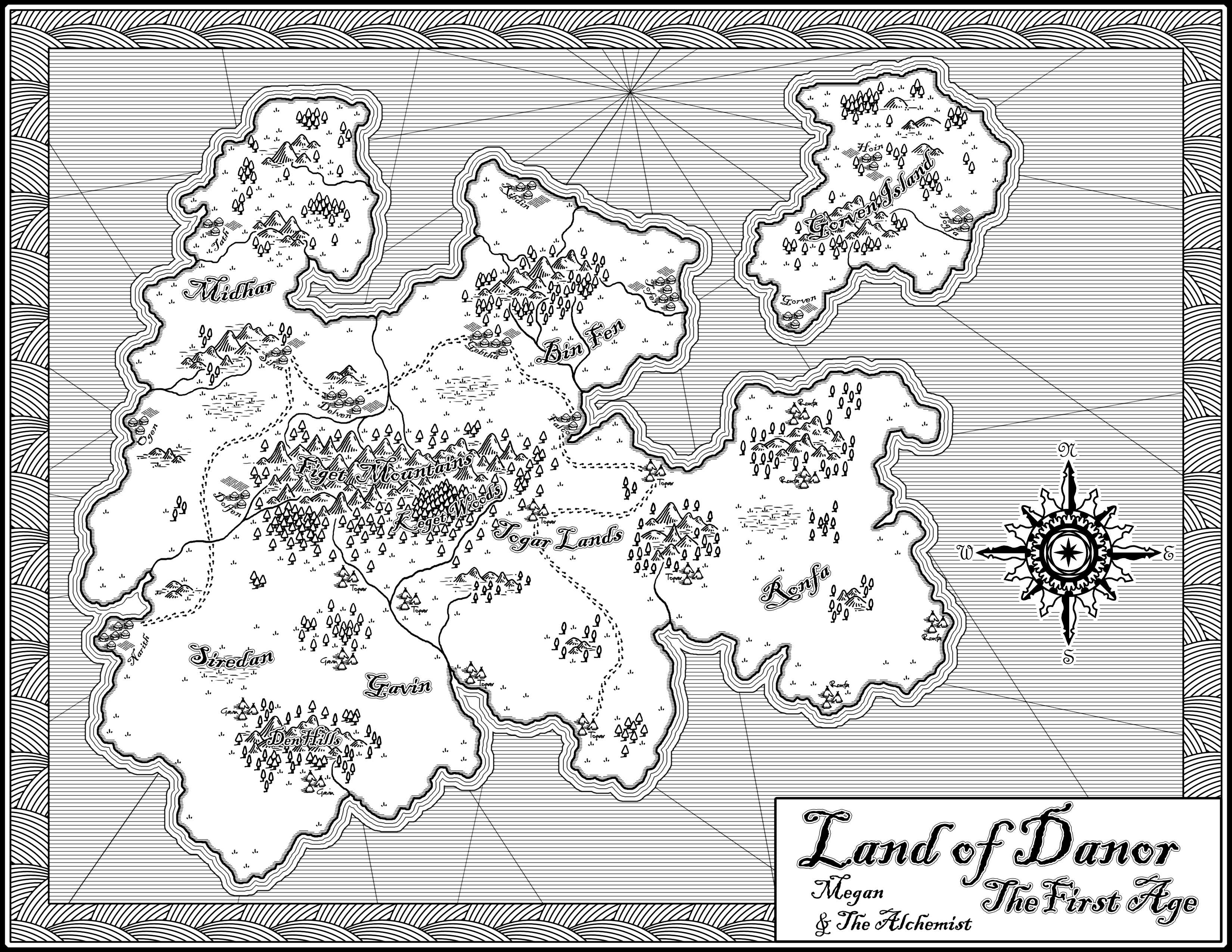 Black & White Challenge Map from March 12.  I used hand-drawn elements that were scanned in and edited in Photoshop 7.