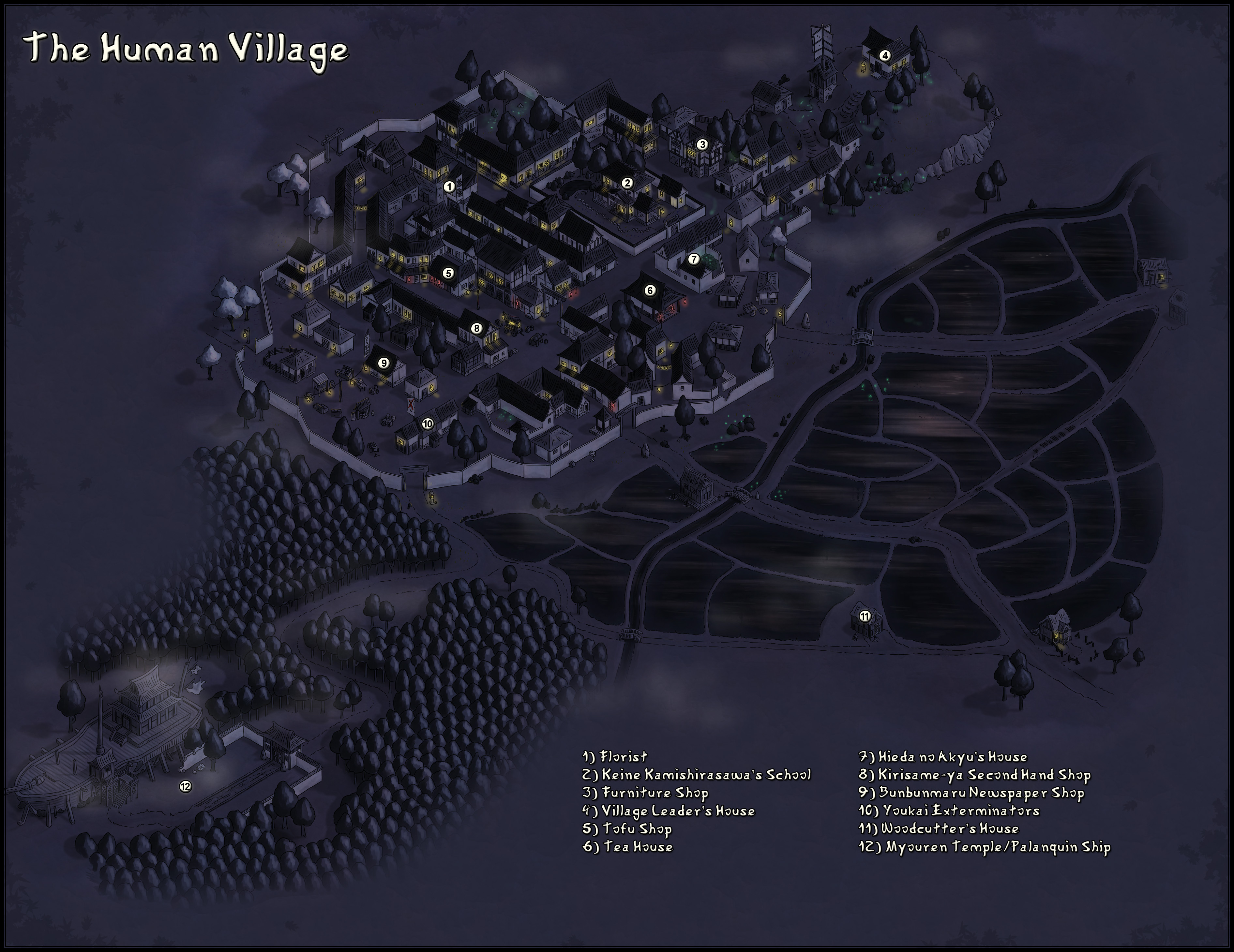 Human Village. At Night. With a bad font.