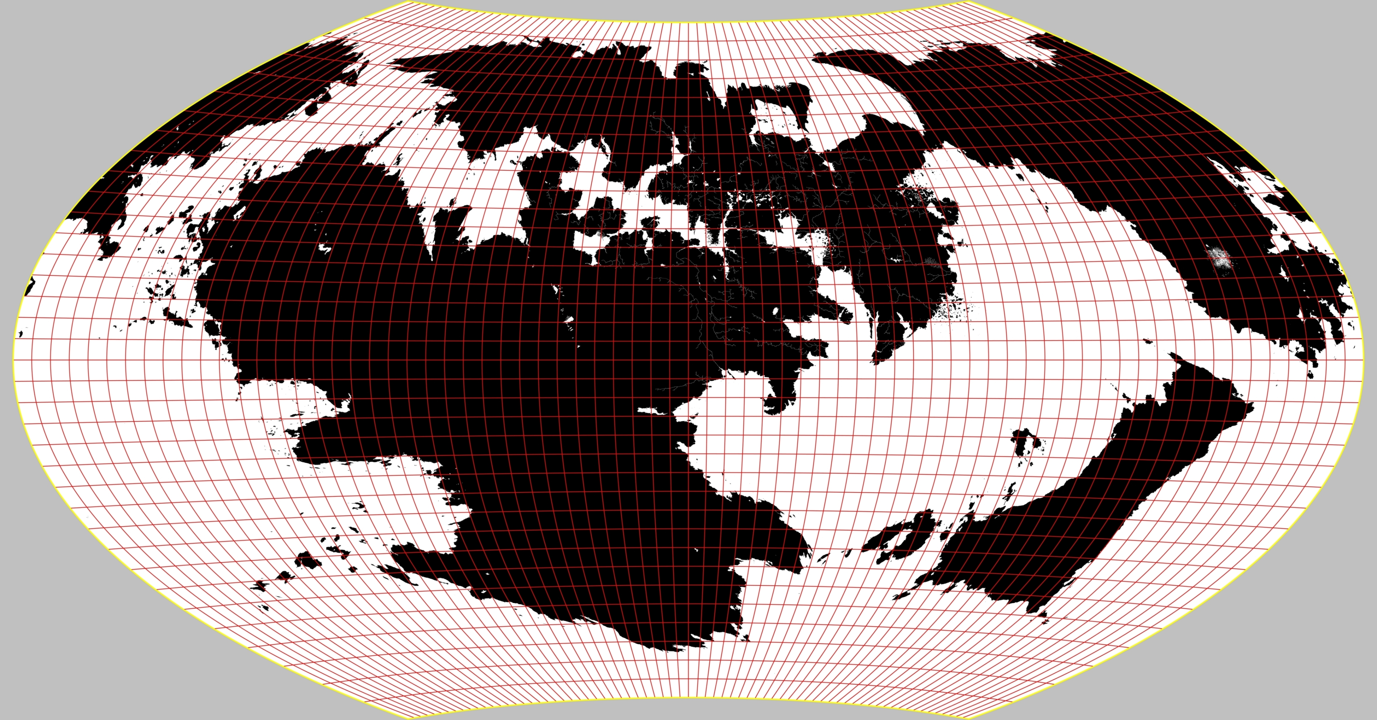 WAGNER IX projection of the world (i have since made some mibnor changes to the coastlines, particularly around the region known as the Inner Sea.