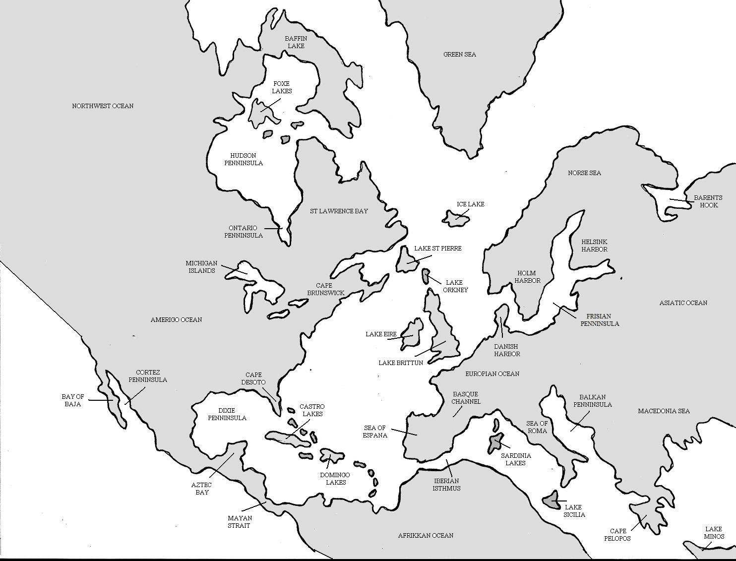 Atlantea: this one was a really fun time waster. Reverse the water/landmasses of an Atlantic map. The most interesting thing I did with it was to narrow it, making S America and Africa one continent. You can see I kept names of real places, but I don't know that all of them would stick if I actually concocted a story to go with it.