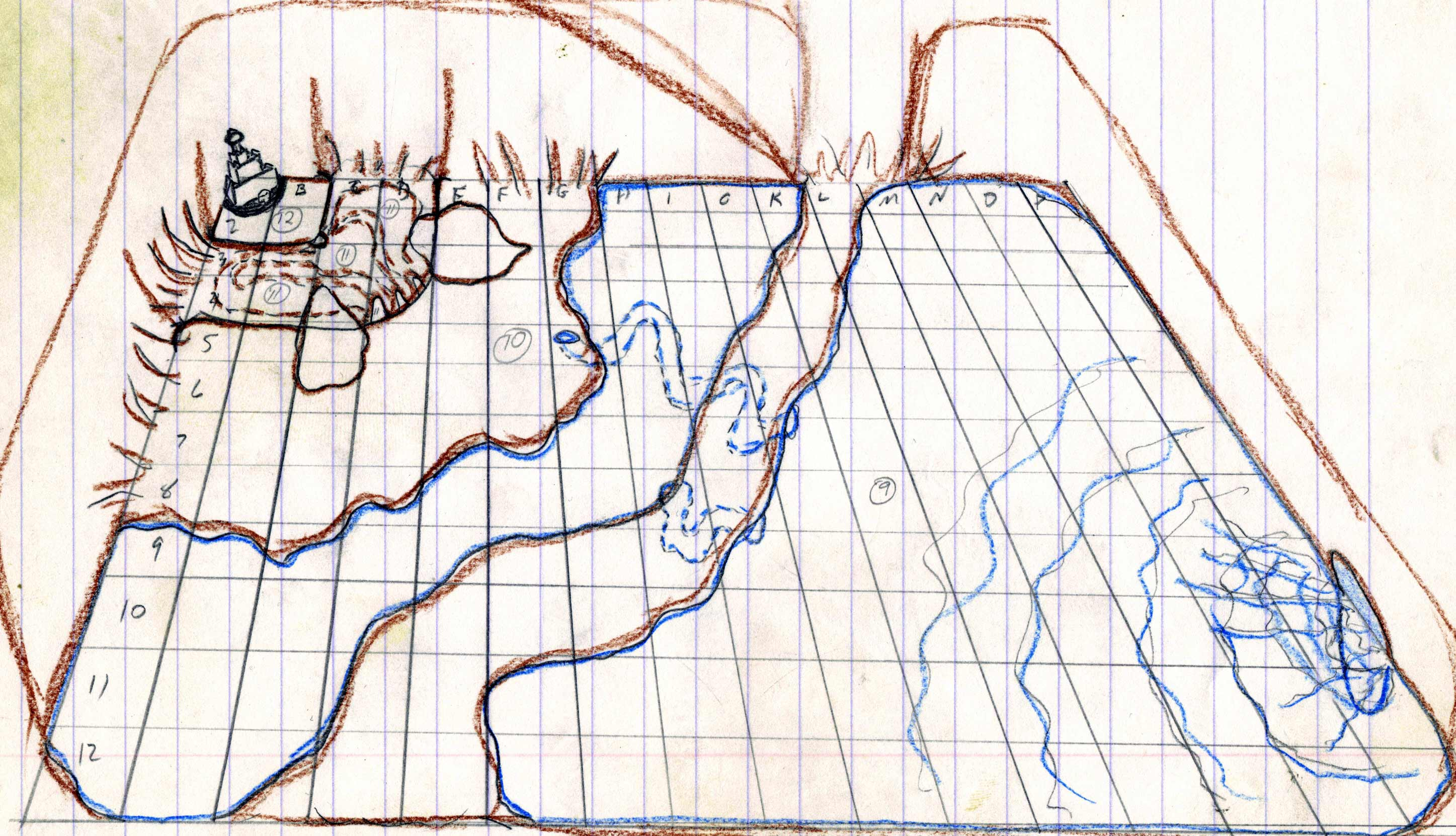 Realm of Defray.  This was the underground lair of the demon bent on destroying the castle of Lord Stone Grey.  I know it is very rough, especially for being done on notebook paper, but I have a revamp in the works.