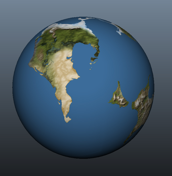 How the world looks when wrapped to a sphere.