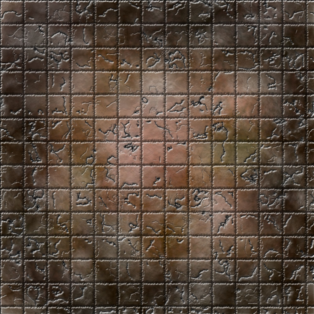 1k by 1k Battle Grid Brown Stained Cracked Tiles
