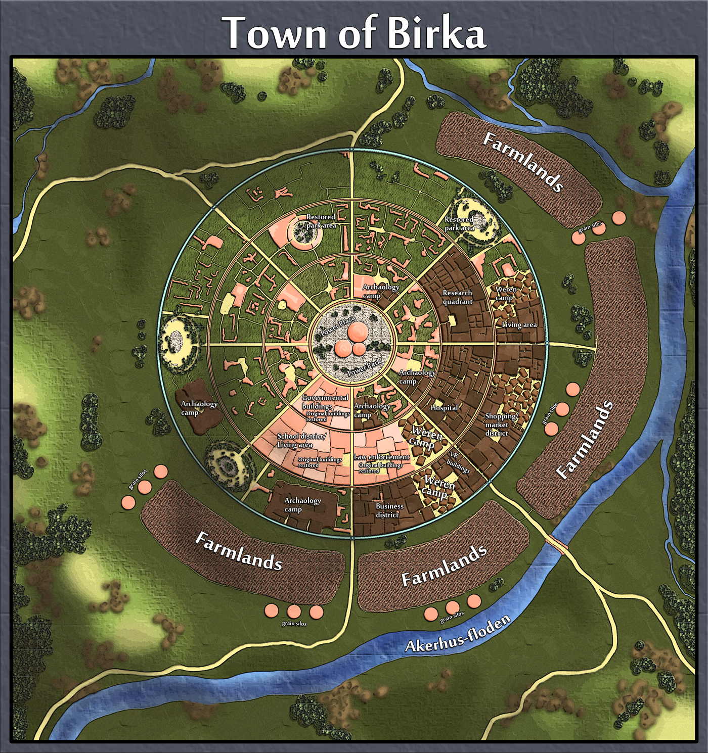 The starting town (or home town, if you will) of the PLayer Characters. The inhabitants have settled in the ruins of an old city, from a long-gone civilization. Slowly restoring buildings, they then move further into the city, as to not destroy potential clues as to the original inhabitants.