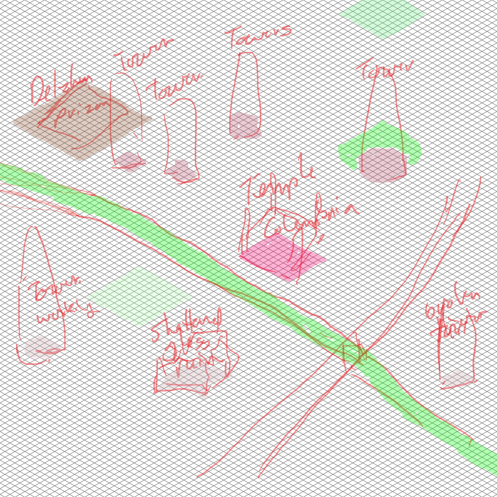 Basic layout and plan for the city, or at least the section of city that the map will represent.  This image includes an isomorphic grid.