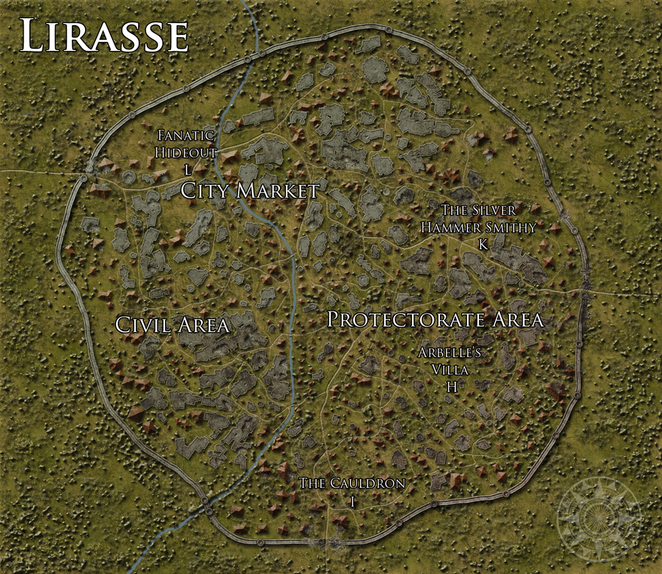The city of Lirasse - Commission for Dreamscarred Press. Photoshop CS4.