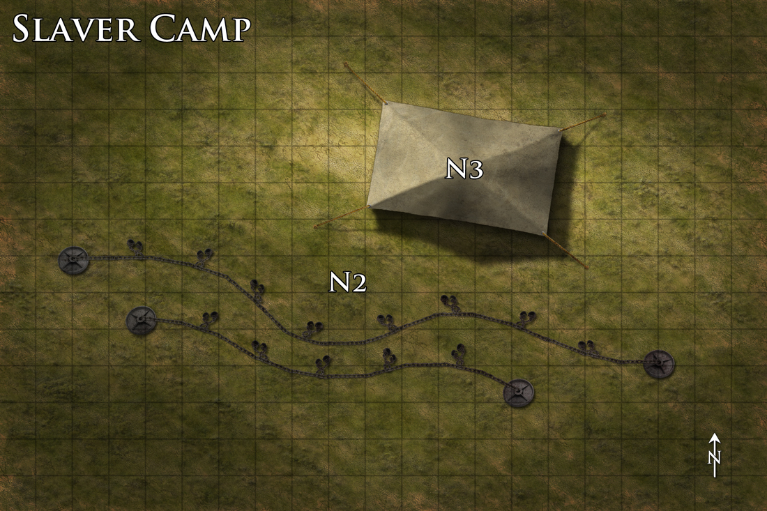 Slaver camp encounter map. Commission for Dreamscarred Press. Photoshop CS4.