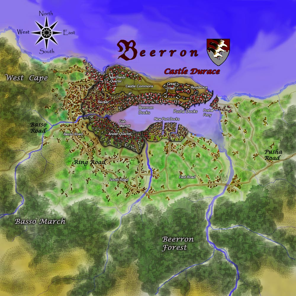 A map of the port city of Beerron