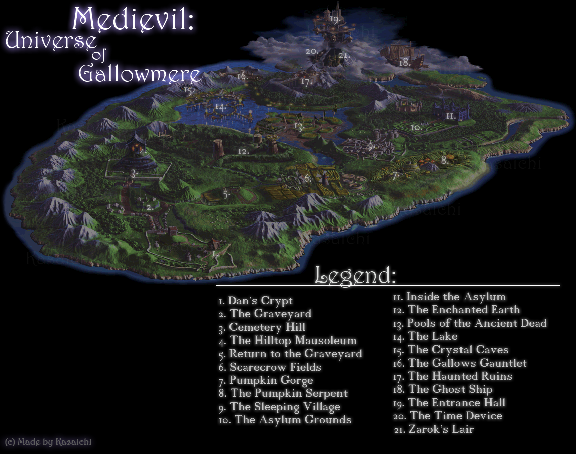 Universe of Gallowmere with legend
