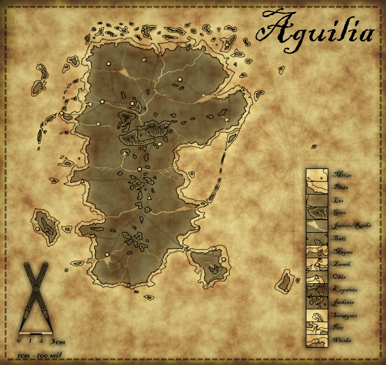 Aguilia - Paper Map