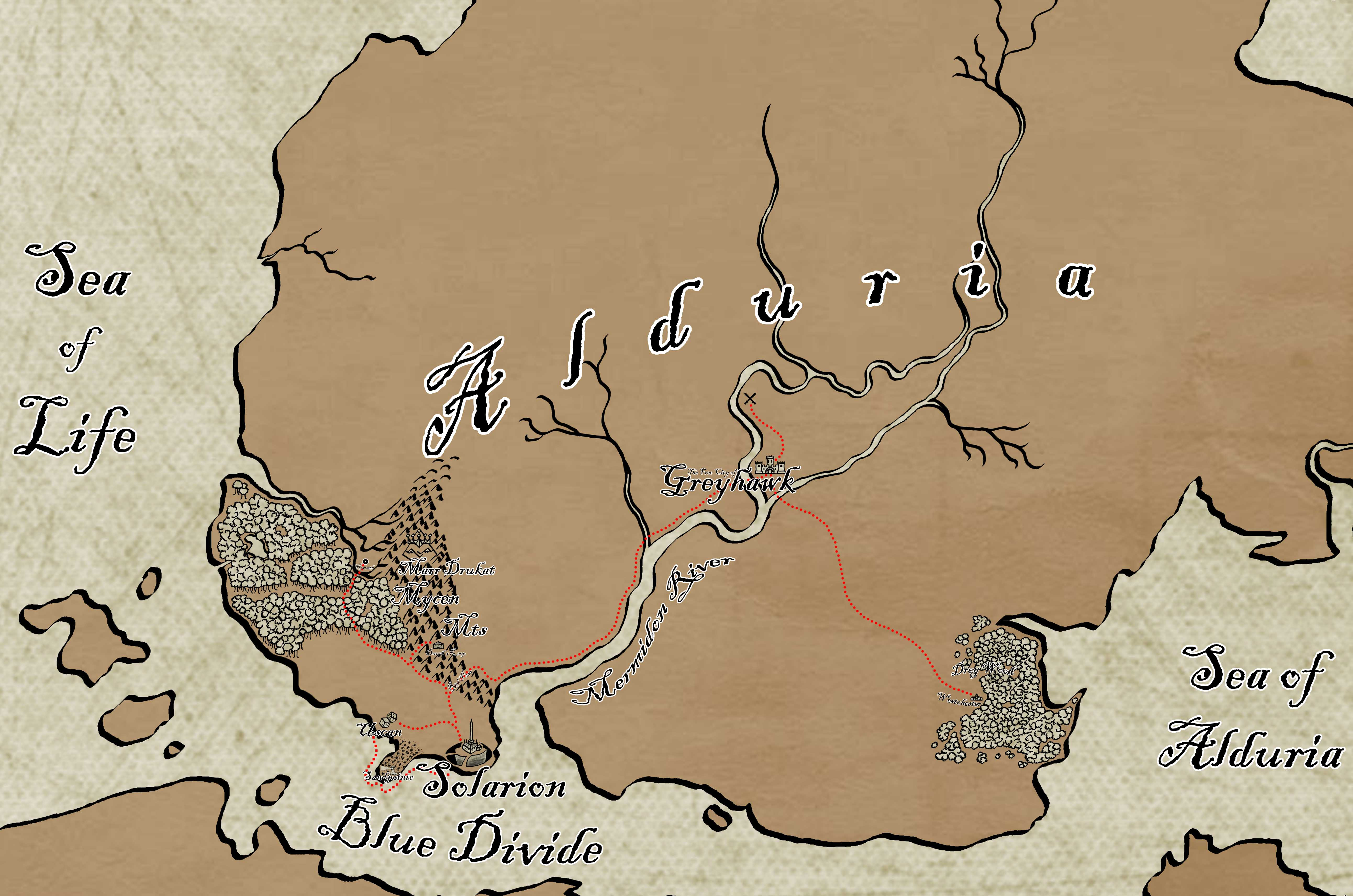 "Alduria - A close up of the country my Player Characters are currently in, pulled from my ""World of Tellus v2"" map. I'm filling in the country as the players explore the land, which is why it's so bare. Check the ""World of Tellus v1"" image for a rough idea of what it will look like."