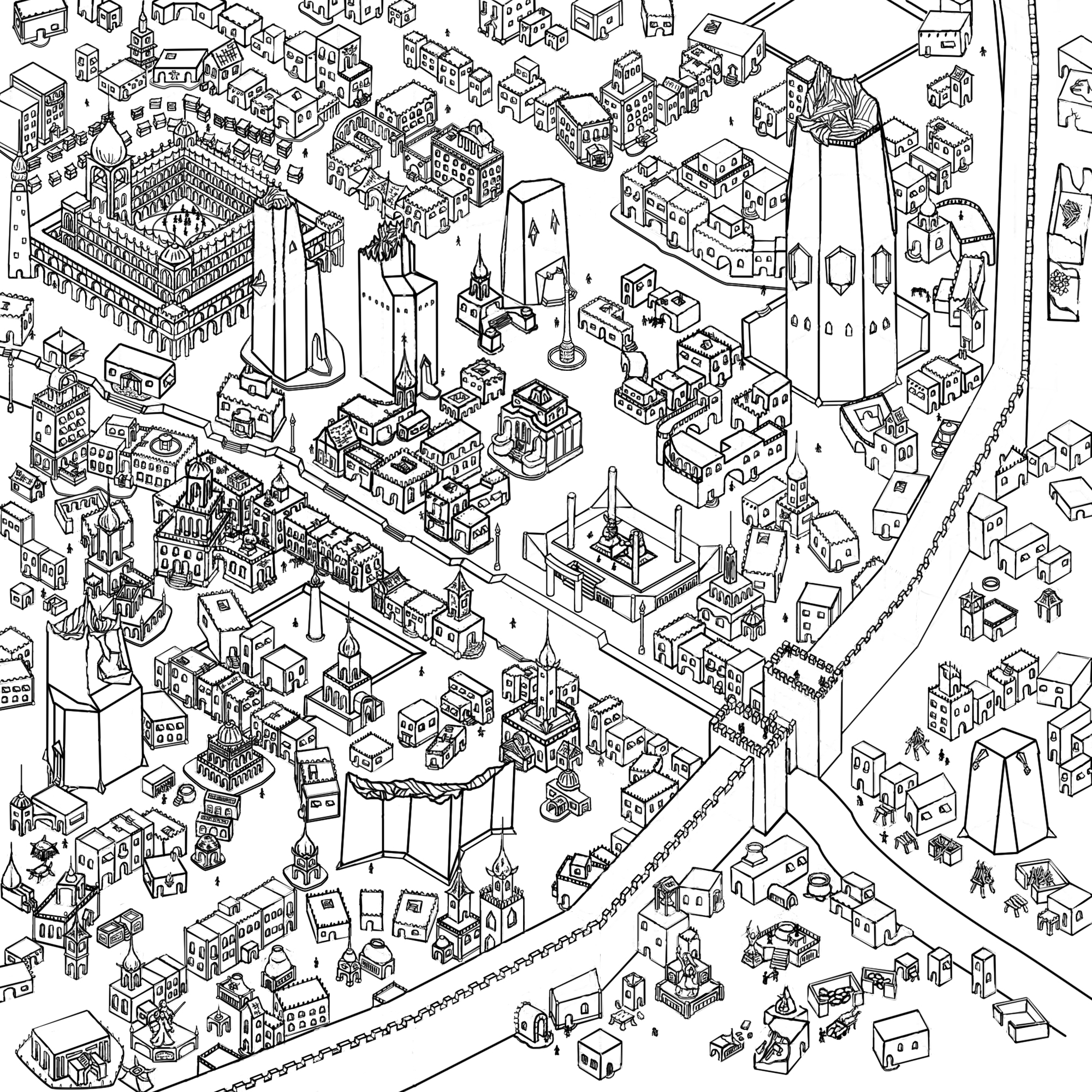 Completed the drawing of all the buildings.  Took me quite some time.  Now it is time to add little details as I go along, and to also color this map.