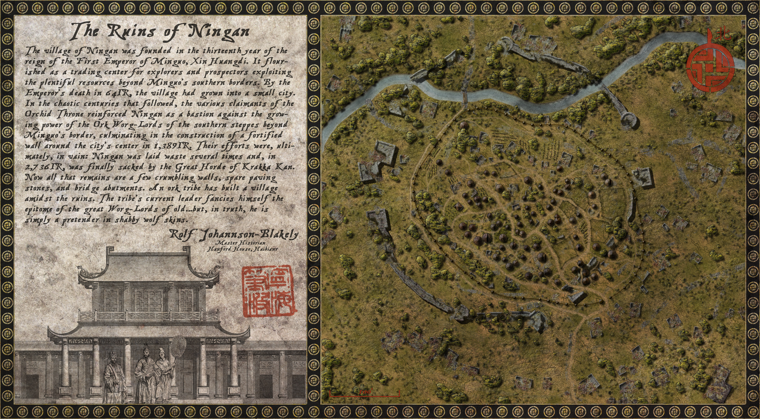The ruins of Ningan/Ork worg-lord village. January 2013 challenge entry (and winner!) Done with Photoshop CS4 and RPG City Generator.