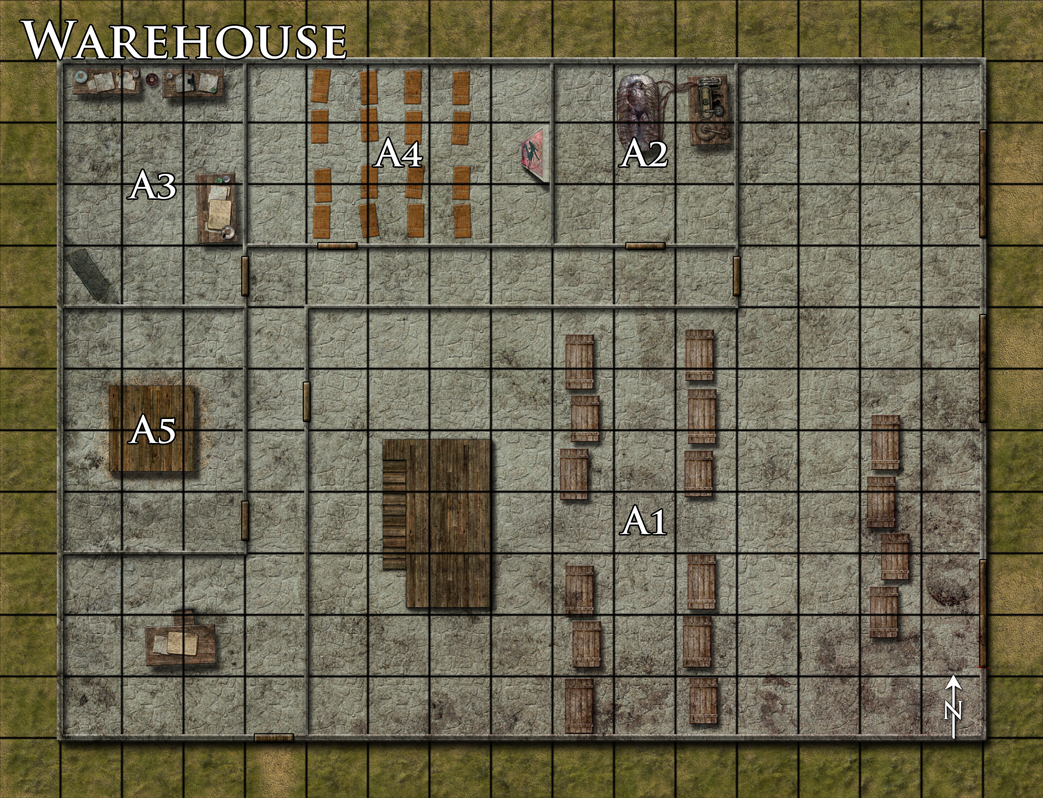 "Warehouse battlemap done for Dreamscarred. This is a hangout for some cultists. A3 is a room of worship and A2 contains some sort of grisly experiment with a bloated corpse. Word to the wise: don't ever search Google Images for ""bloated corpse""...ick! Done with Photoshop CS4."