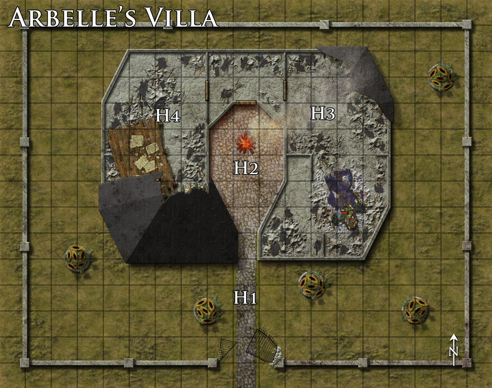Ruined villa battlemap done for Dreamscarred. A giant lives here and has built a massive table and mattress from the scraps of this once fine home. Not sure what's up with the sunflower pots. Done with Photoshop CS4.