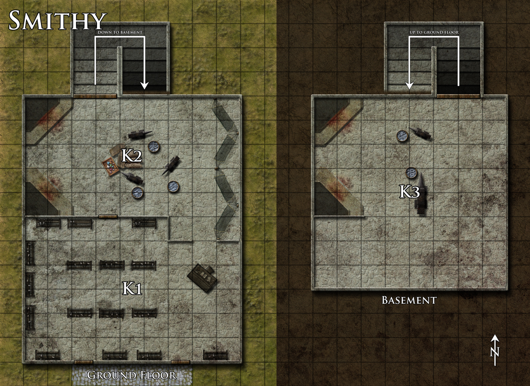 Smithy battlemap done for Dreamscarred. I think the people holed up here are thieves, later massacred by some sort of monster living in the basement. I'm not too happy with the stairs, but followed the floorplan I was given the best that I could. Done with Photoshop CS4.