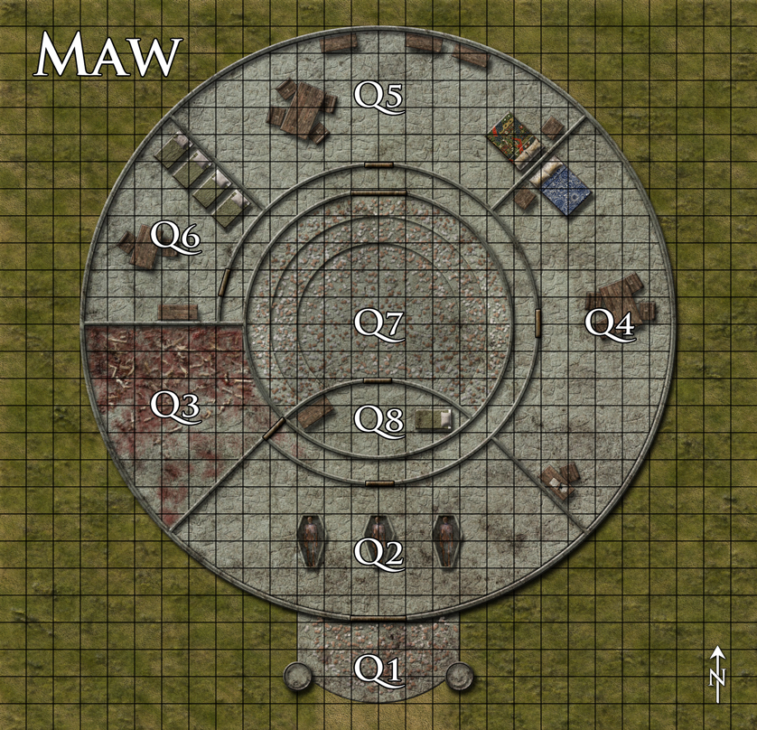 "The Maw - a battlemap done for Dreamscarred. Cultists live here and worship the ""Fanged God"" that lives in the center. The little bits are brass and copper coins (no gold!) scattered as offerings to the god. Done in Photoshop CS4."