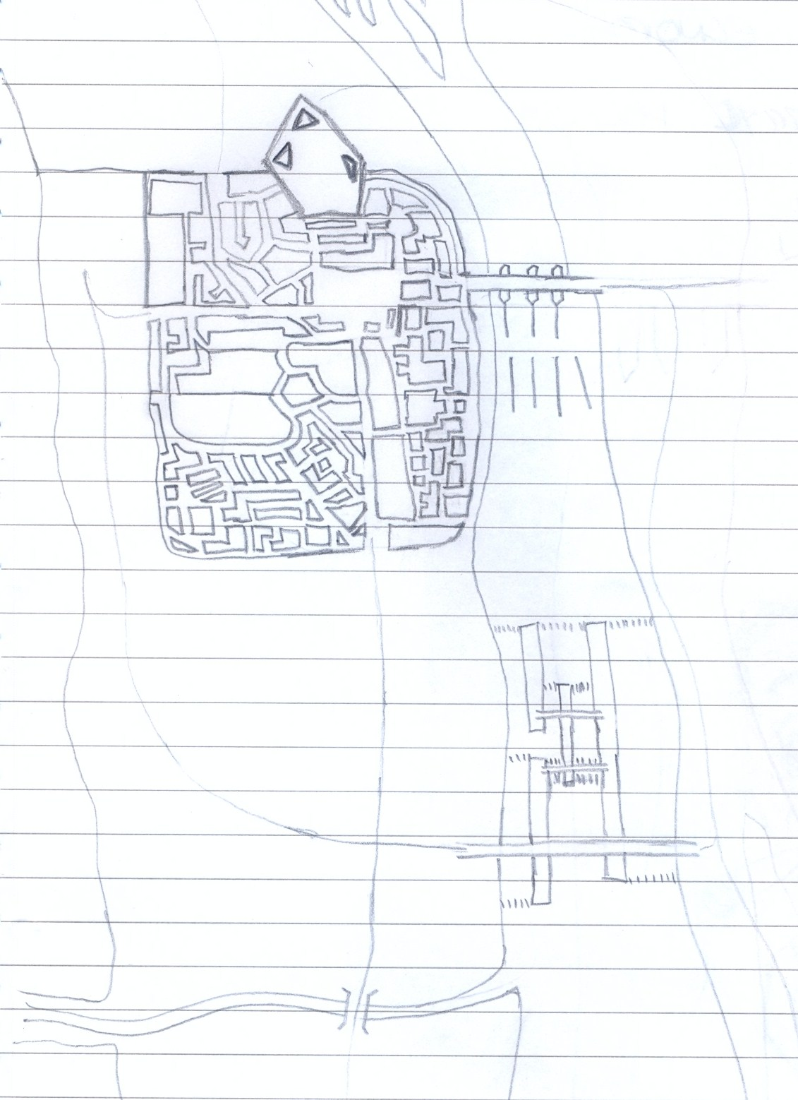 "Original sketch of ""The City"" ... Citadel up top built on an outcropping of rock, the rest is a walled city. Although predictably medieval in most aspects, the system of weirs in the river channel water through a rank of waterwheels underneath the bridge powers a series of cogs and wheels that creates kinetic energy that's used in various ways."