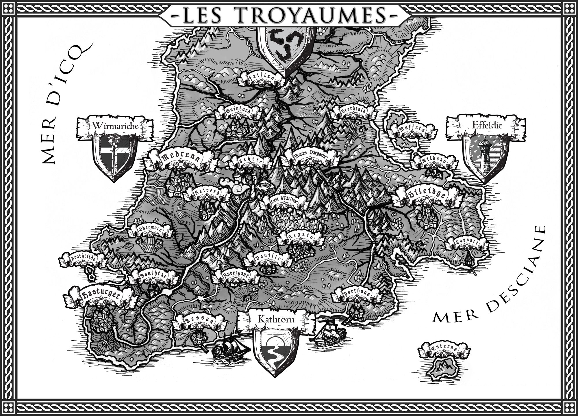 "Greatest and more powerfull countries in Athtora during the saga's era, the kingdoms of Kathtorn, Wirmariche and Effeldia form a triple political entity known as ""Les Troyaumes"" (which could be translated from french as ""the Threalms"" (three-realms))."