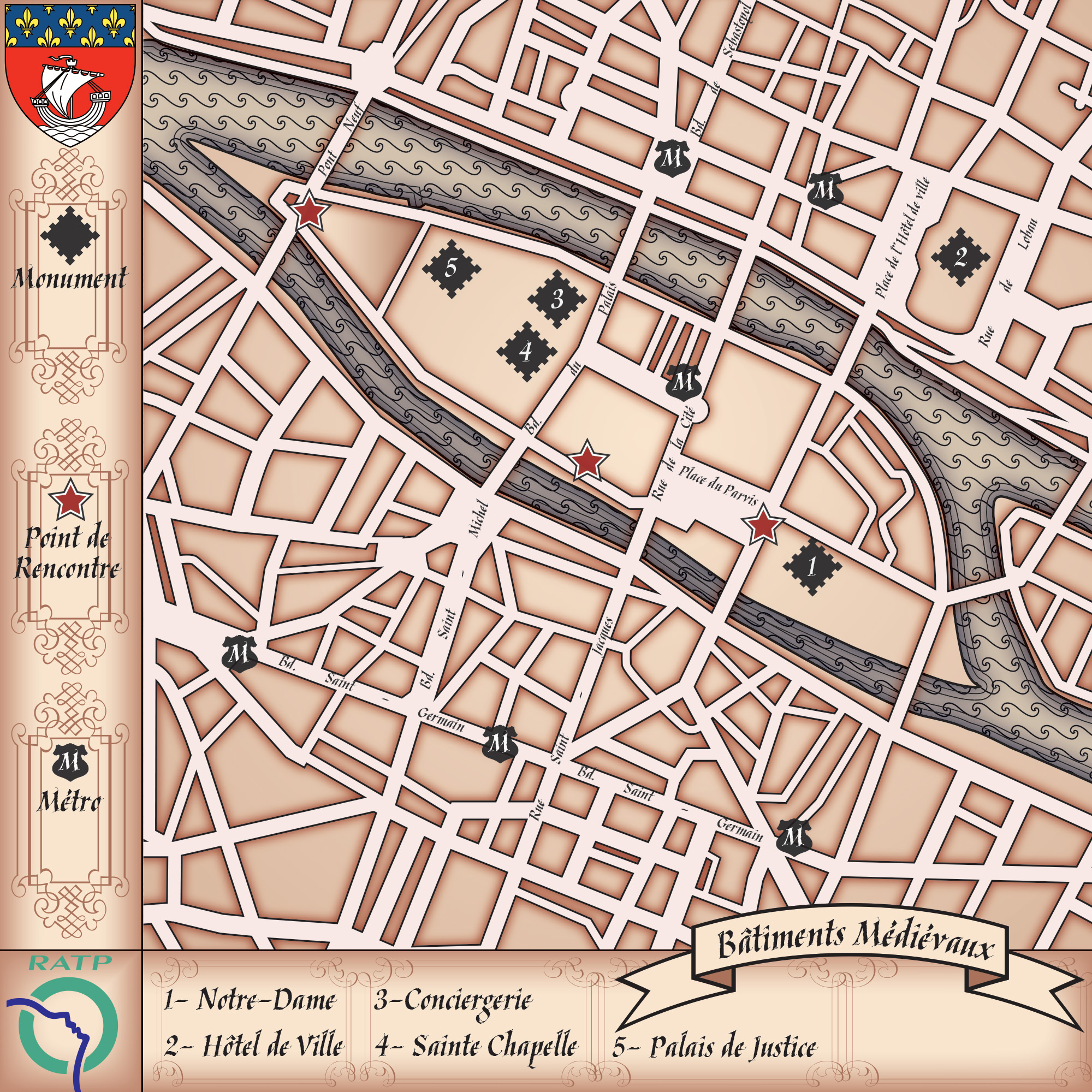 Touristic map of medieval buildings in the city island.
