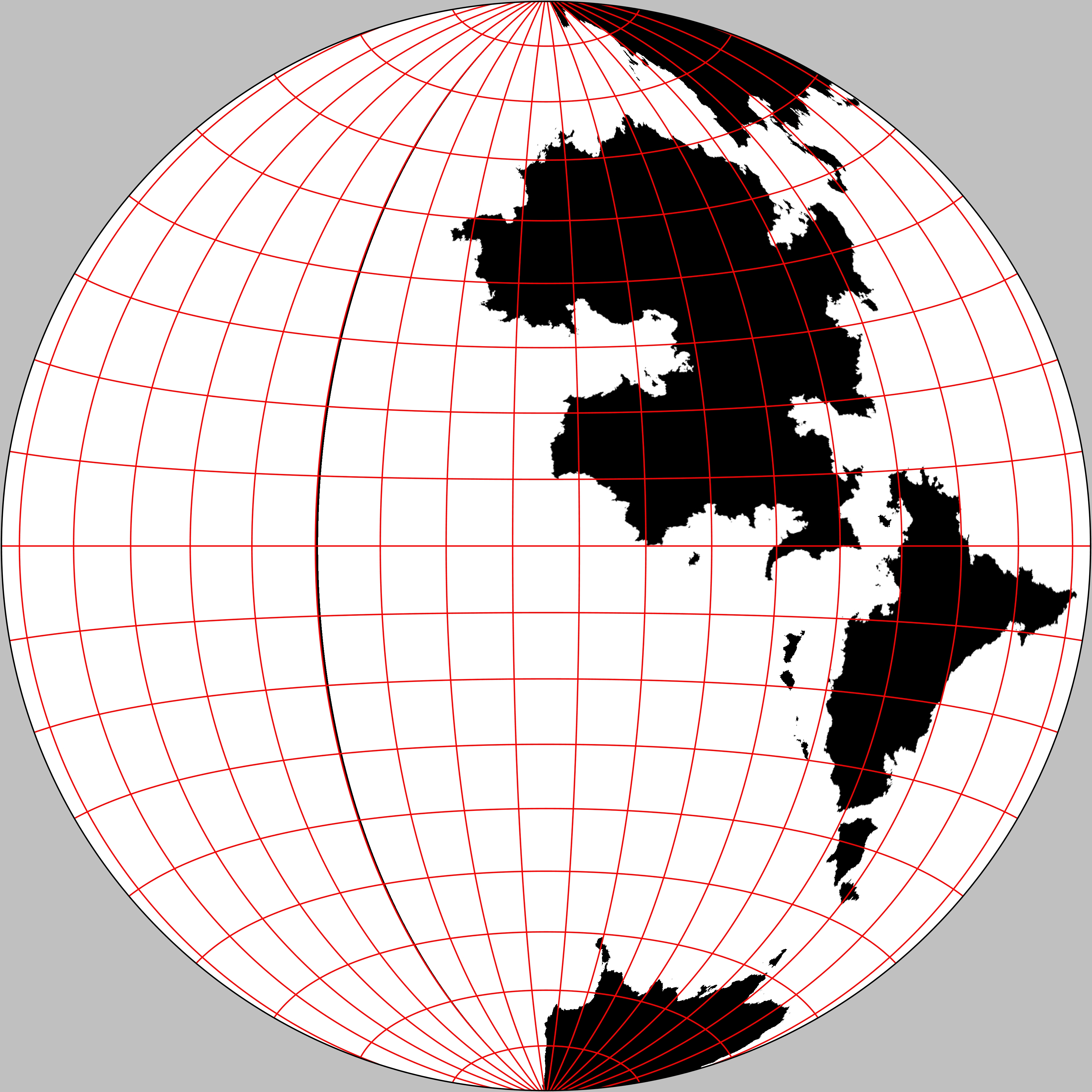 The western hemisphere of The Known World. Gott-Mugnolo Azimuthal projection.