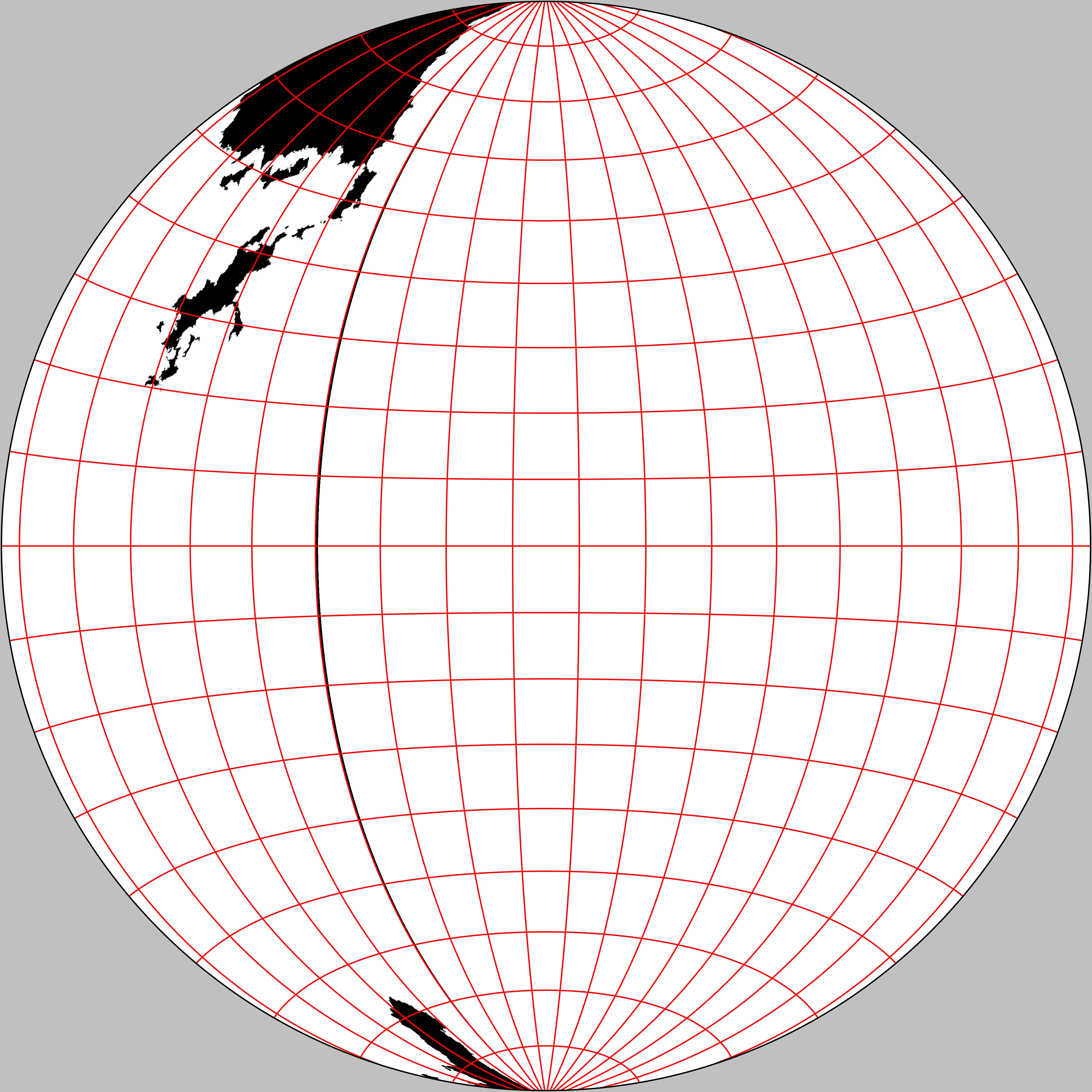 The eastern hemisphere of The Known World. Gott-Mugnolo Azimuthal projection.