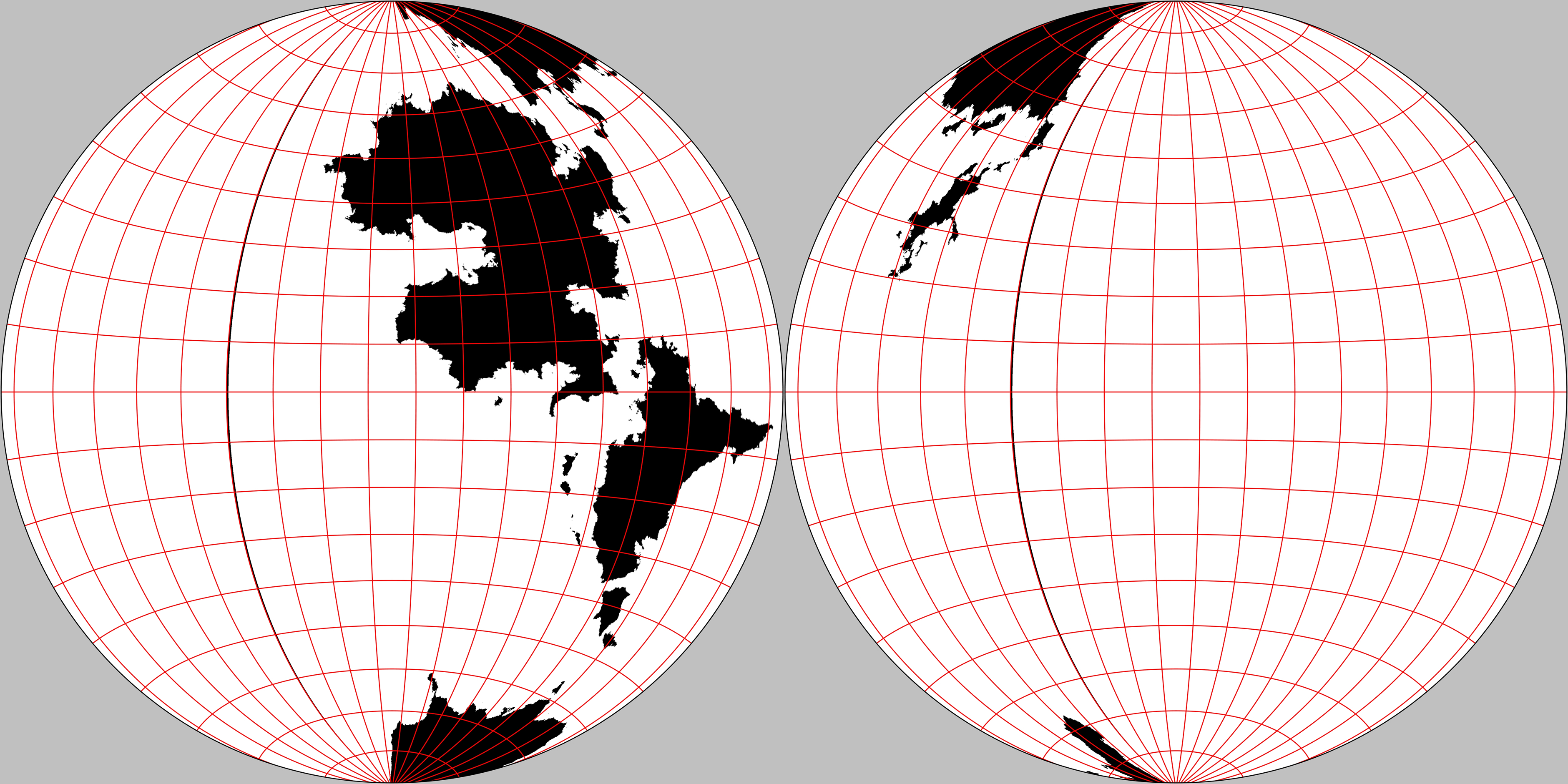 Western and eastern hemispheres of The Known World. Gott-Mugnolo Azimuthal projection.