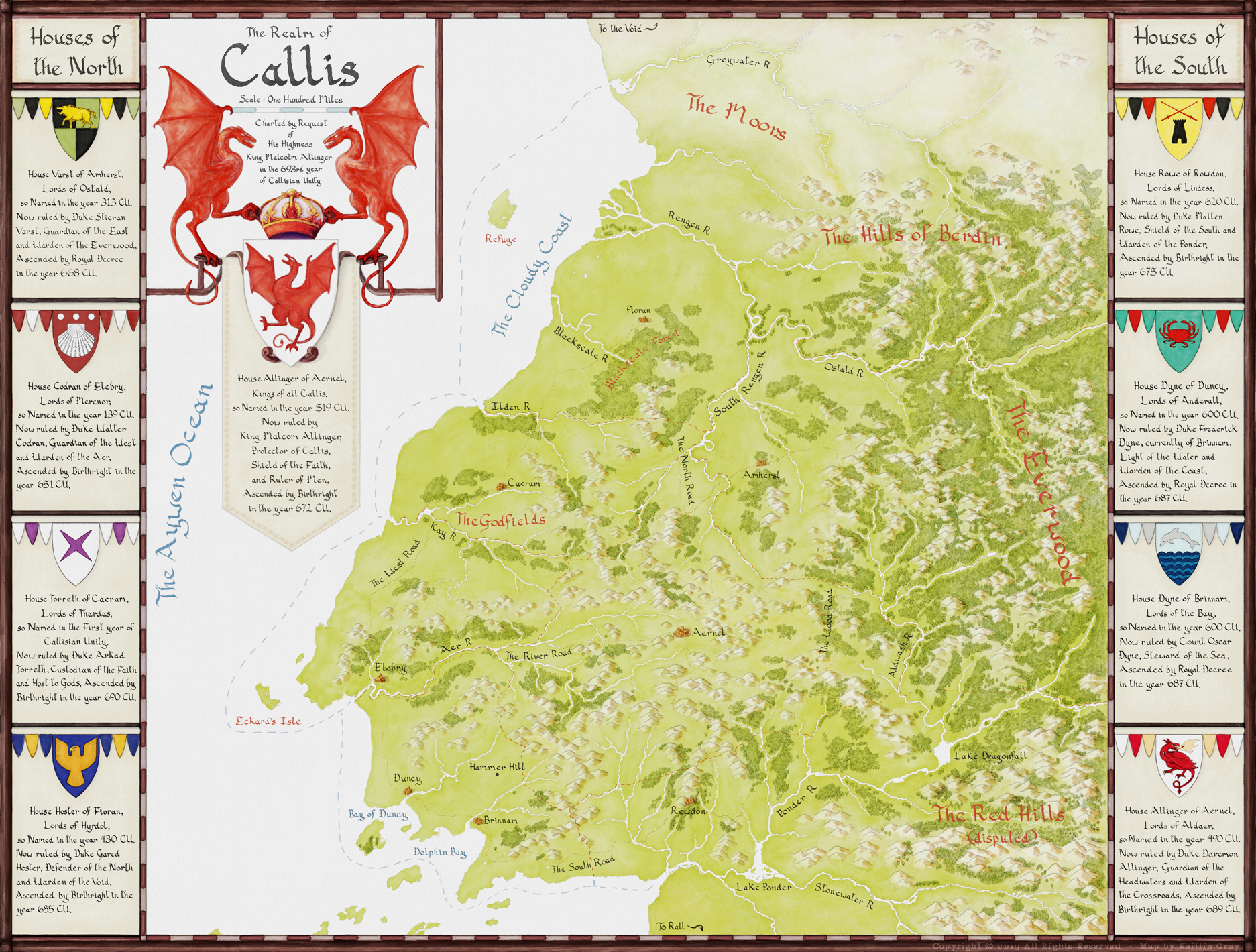 The Realm of Callis - regional map commission - all rights reserved.