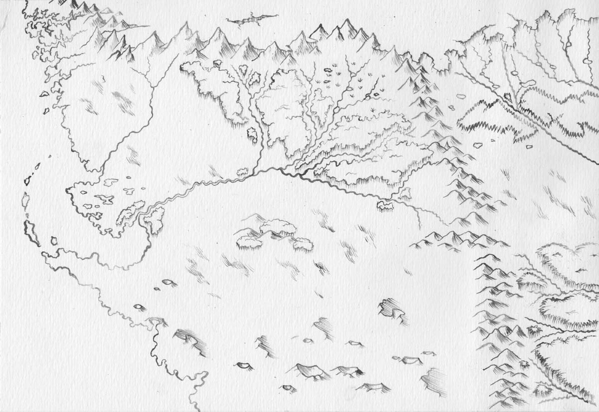 A quick black/white map for a roleplaying group.