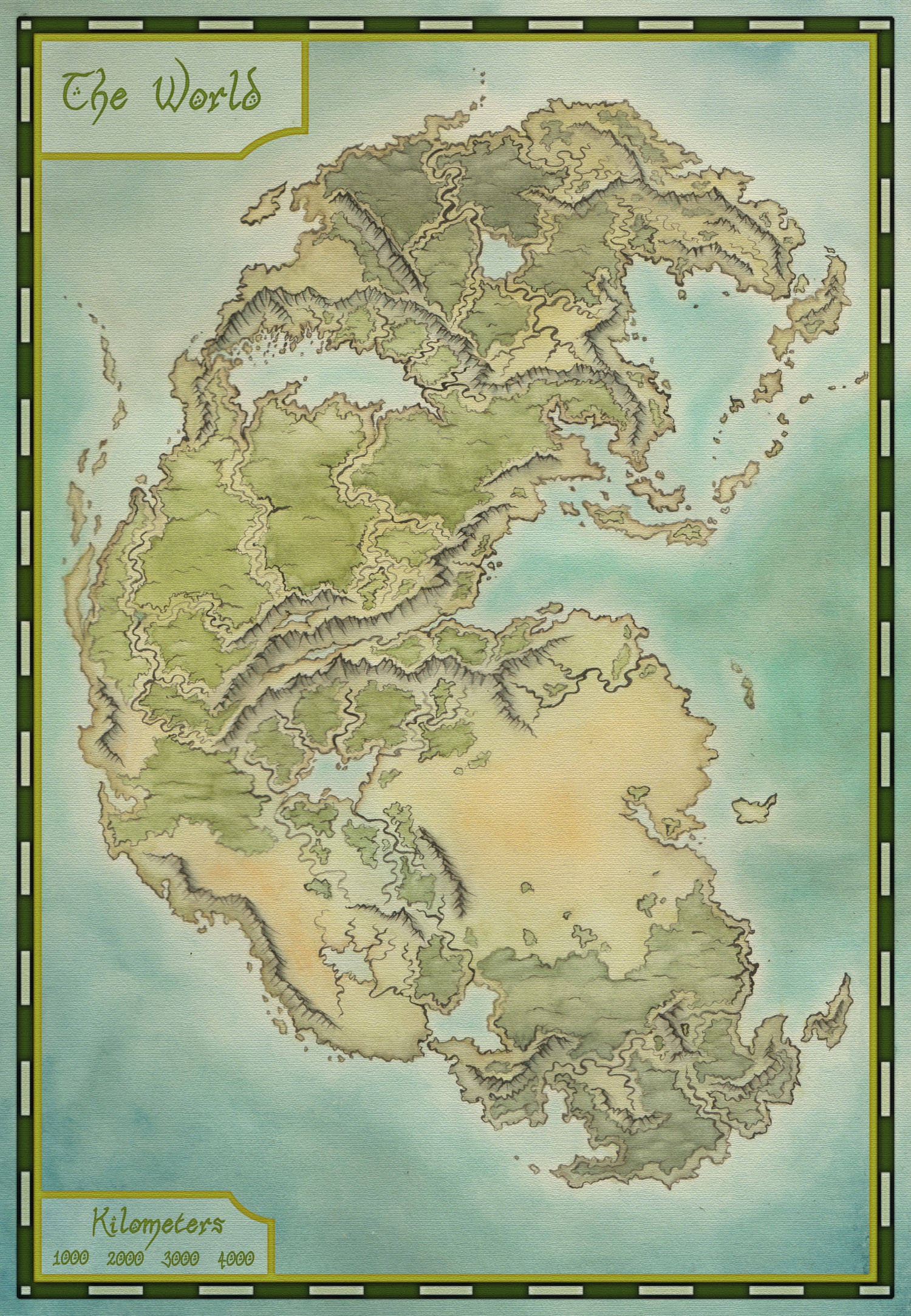 A fantasy map based on Pangea. Watercolors and Photoshop.
