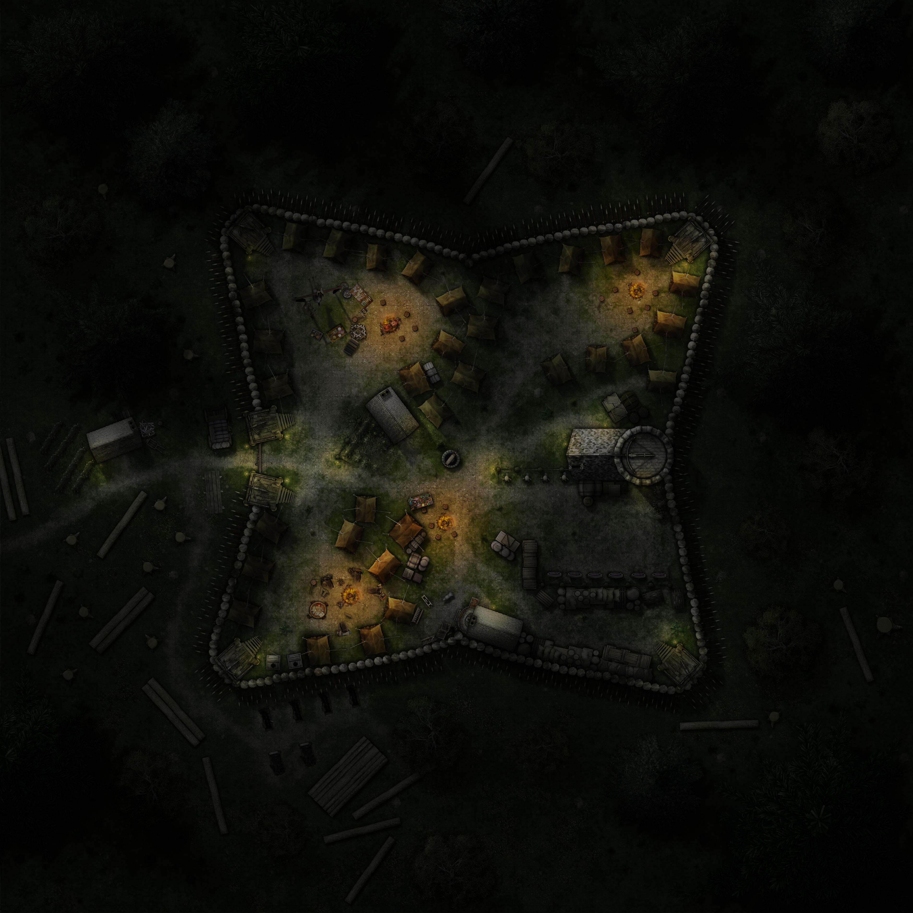 Graveth's Fort, Night time