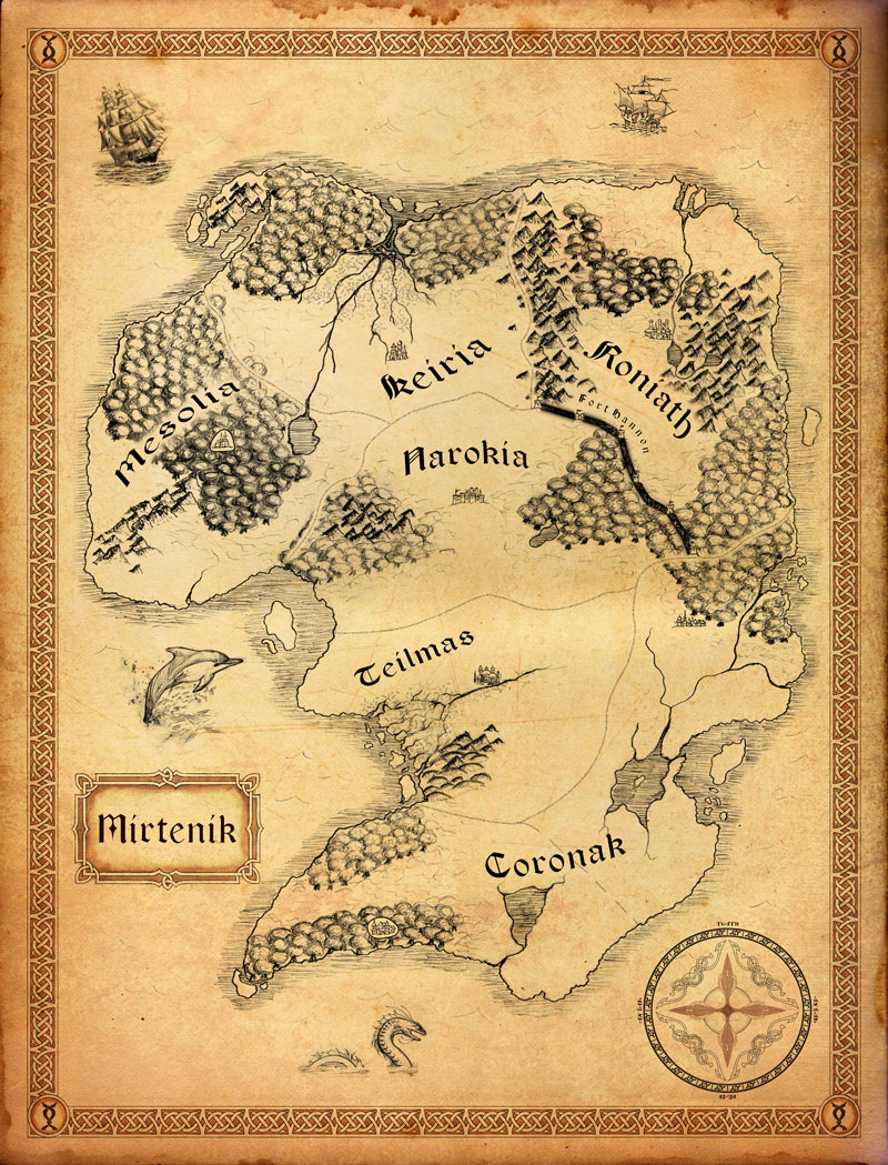 Map of Mirtenik for my wife's novel.