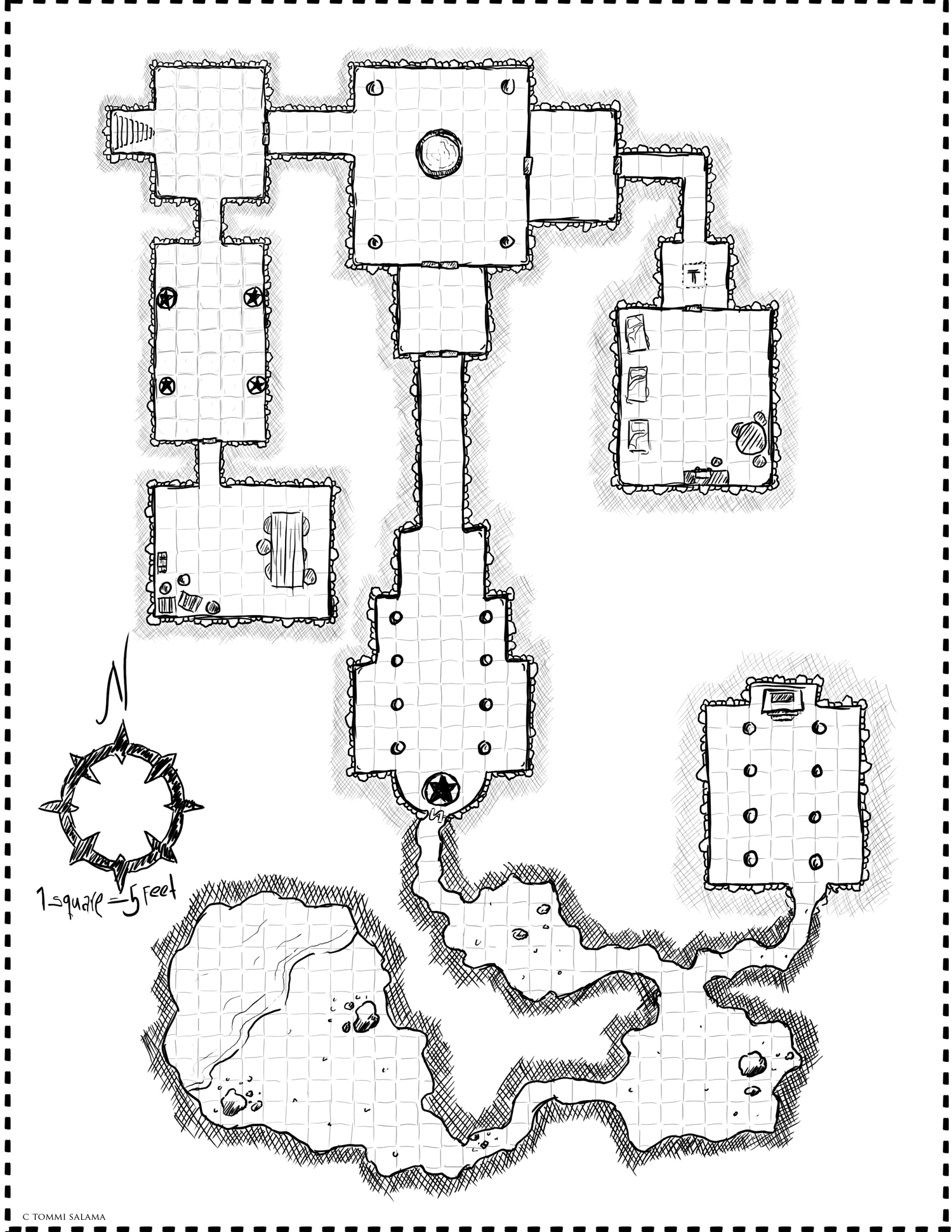 Dungeon sketching in Photoshop with graphic tablet.