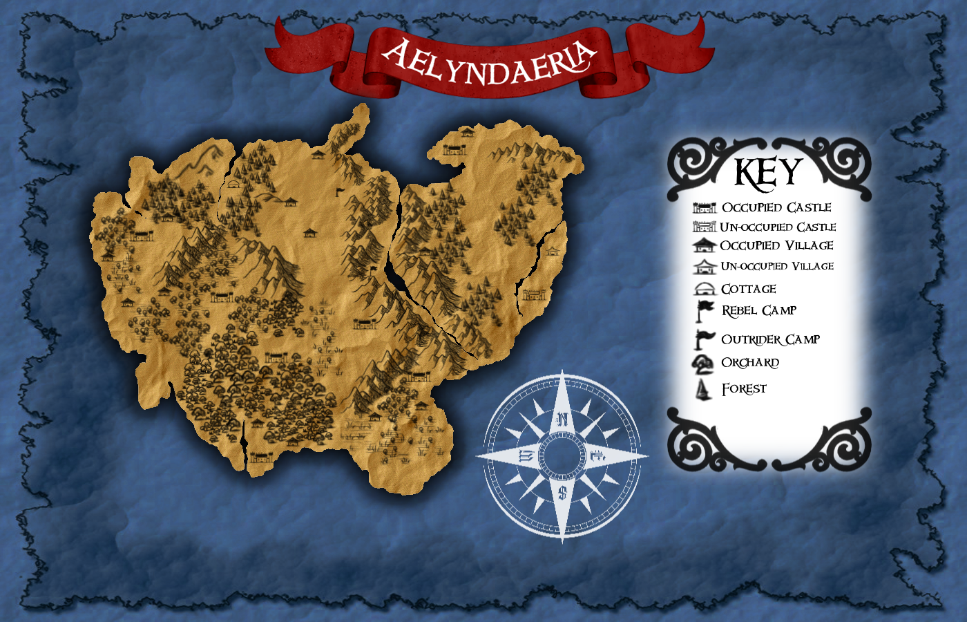 A map for my fantasy world, The Eight Realms of Aelyndaeria. :) Made in GIMP using brushes from DeviantART.