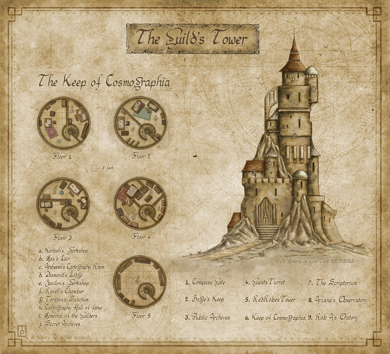 "The Guild's Tower - My entry for the CG February challenge ""Map the Guild"" 1st place (in a tie)
