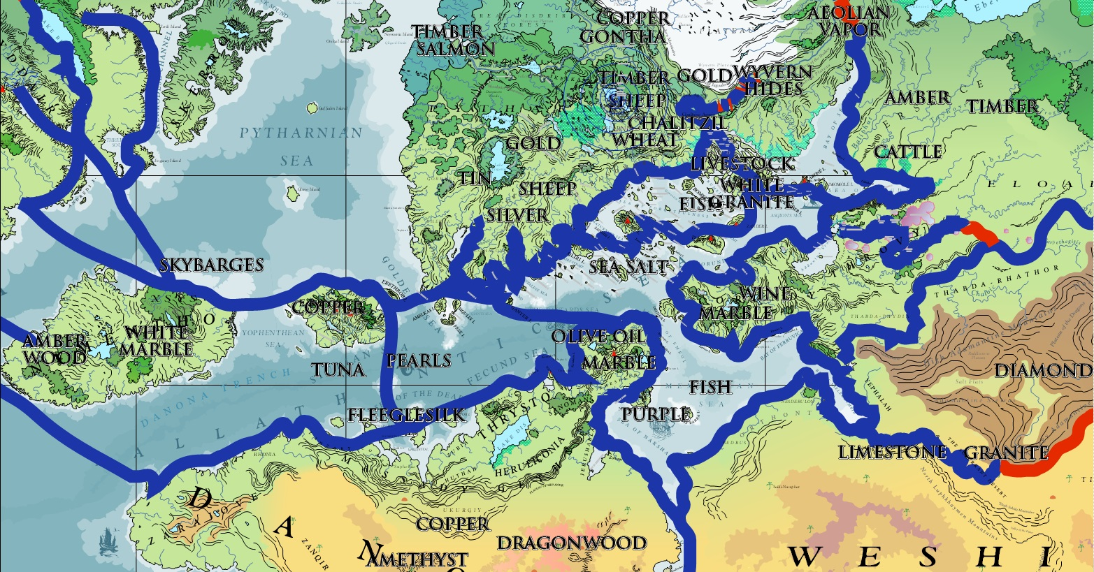 Blue lines represent sea routes, while red lines represent overland routes.  