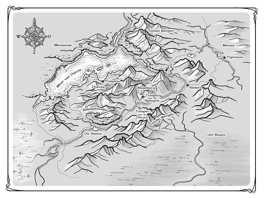 This map was printed on the endsheets of a Dutch fantasy series for teenagers, so it had to be monotone and less complex.