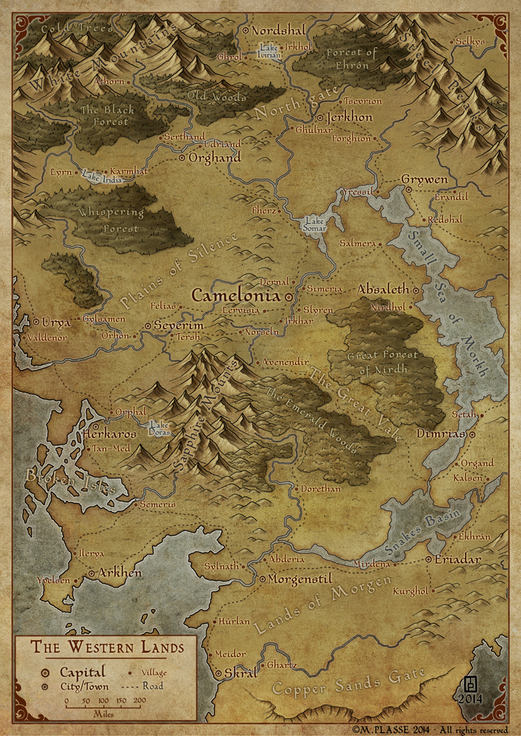 Western Lands - Commission map for a RPG Kickstarter project.
