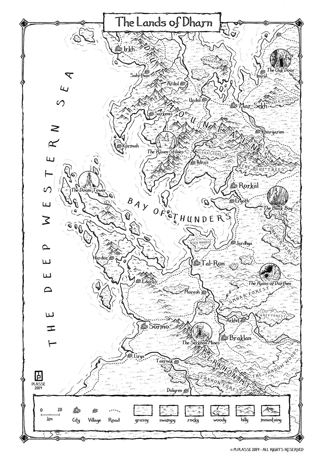 Lands of Dharn - Pure B&W map practising  � M.PLASSE 22014 - All rights reserved