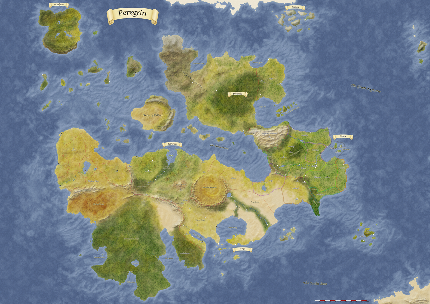 Peregrin World Map. I used the same techniques I learned when making the Ragnar map. I had to downsize quite a bit to upload here - on the original you can read all the name-tags