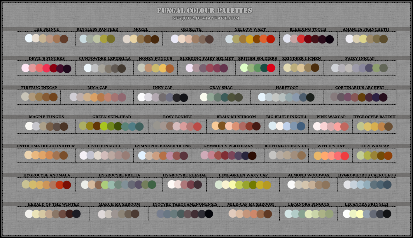 Click image for larger version.  Name:Fungal Colour Palettes by Neyjour.png Views:N/A Size:395.6 KB ID:85080